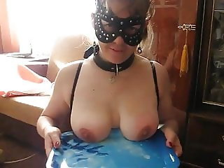Leyla's tits are whipped on the tray