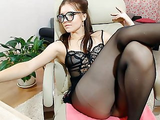 webcam in black stockings and heels
