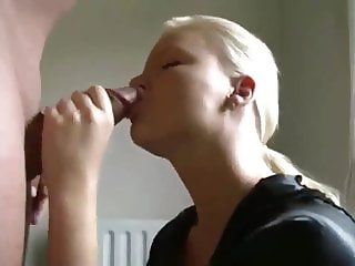 horny blonde gives dp bj and takes cumshot on pussy