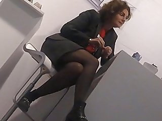 Candid mature legs in black pantyhose