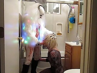 Bitch strapon clown fucking her sissy...