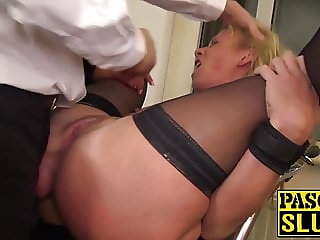Busty Sasha Steele anally spankbanged before cum spray