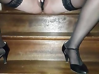 Pussy Play on stairs