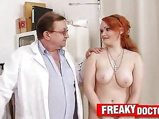 Chubby Euro redhead Samatha tricked by old gyno doctor