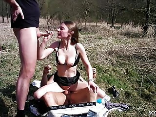 ANOREXIC GERMAN TEEN in Real MMF Threesome Outdoor in Park