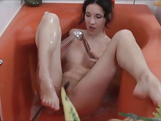 Oksana's erotic movements in the bathroom