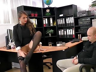 Dirty Talking MILF Anal  Secretary Big Tits Stockings