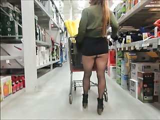 Shopping in pantyhose fun, sexy ass, no panties, cute boots