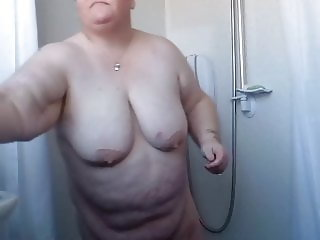 My BBW wife Liz exposing herself to you all, in the shower