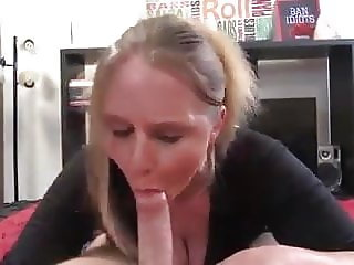 Busty mom rides son