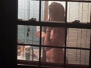 Sexy neighbor girl spied on through window part 2