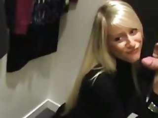Horny Blonde Agreed for Quick Sex in Public Changing Room