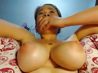 using a toy but what a pair of tits