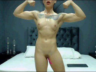 Awesome Muscle Girl Flex & Pose