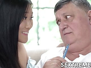 18yo Asian Katana riding older man after blowjob