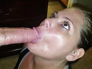 Stunning eyes sucking cock for a beautiful messy facial load