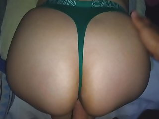 cK GREEN THONG!! CUMMING ON SISTER S BIG ASS