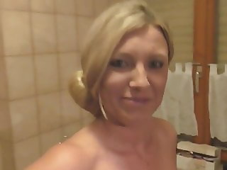 German Busty MILF blonde gets a creampie in her wet pussy!