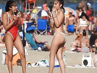 Beautiful girls on beach voyeur candid butts