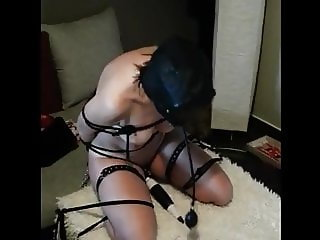 Wife bound gagged hooded and secured on top of a vibe