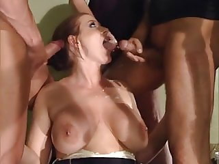 Valerie de Winter with 3 guys