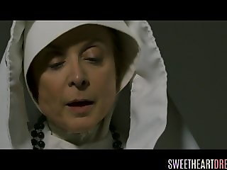 Lesbian nun masturbating and fingering
