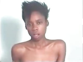 Slender black girl has powerfull orgasm