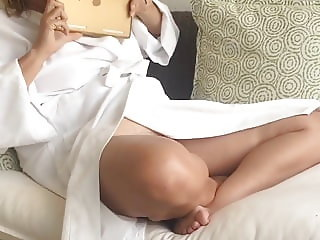 no panty bath robe unaware MILF