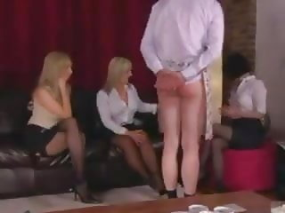 Three Femdom Ladies Treat their Sissy Maid