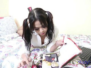 Super cute schoolgirl Pi Ladyboy wanking it and cum