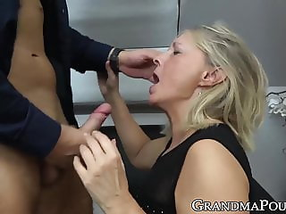 Busty GILF eating cum after old and young handjob fingering