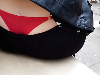 RED PANTIES IN PUBLIC