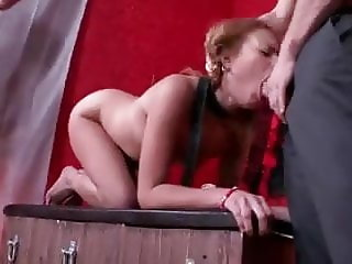 Cute young redhead slave-double penetration