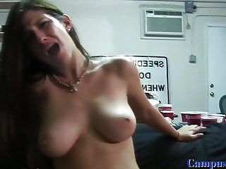 Bigtitted university babe riding hard cock