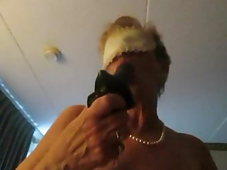 Aunt sue blindfold cum