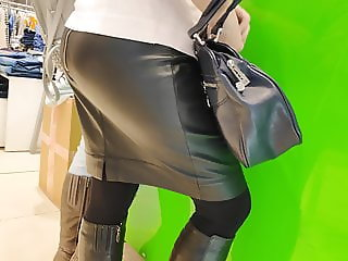 Juicy ass beauty milfs in tight latex skirt 2