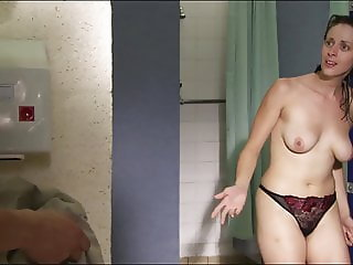 Embarrassing CMNF - Teach caught in the shower