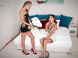 Lesbian Lovers Liya Silver and Aislin Anniversary Foreplay