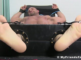 Hunk in bondage Jaxx tormented feet muscle tickling fetish