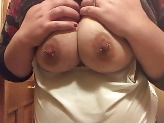 Drunk Flashing Playing With My Big Tits and Pierced Nipples