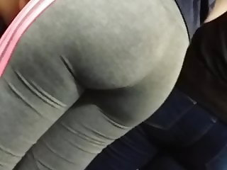 Grey leggings big butt