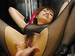 Yui Shimizu is moaning while getting both holes gently finge