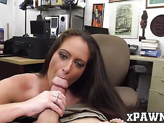 Fine ass MILF shows her dick riding skills to a pawnbroker