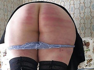 Wife hard caning in kitchen