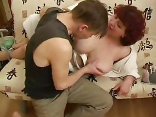 Adult woman fucks young guy