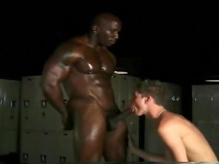 Black Muscle Daddy Bobby Blake & White Twink Sebastian in the Locker Room