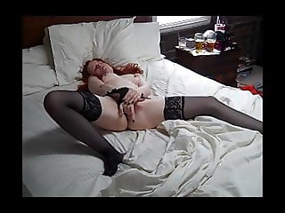 Redhead in stockings masterbating