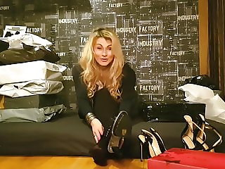 German Girl unboxing High Heels