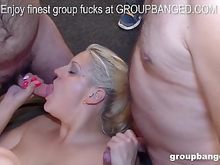 Blonde German sluts likes being fucked by a big gang