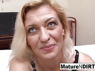 Slutty blonde grandma takes two loads on her face